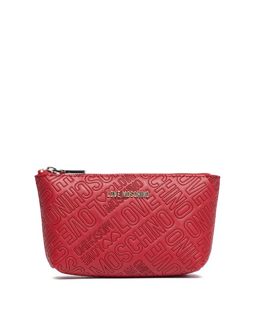 Love Moschino - Red Embossed Zip Travel Pouch - Lyst