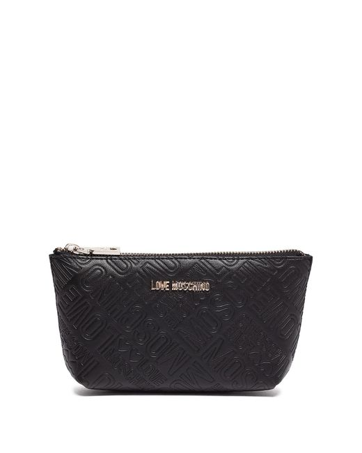 Love Moschino - Black Embossed Zip Travel Pouch - Lyst