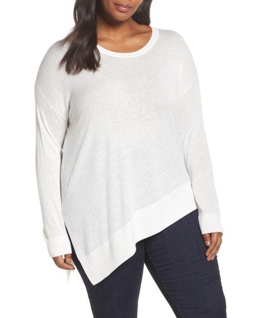 Sejour - White Asymmetrical Hem Sweater (plus Size) - Lyst