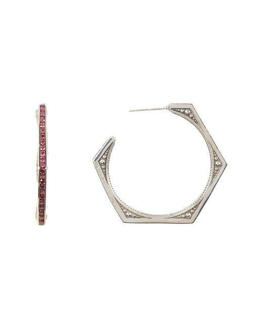 Stephen Dweck | Metallic Sterling Silver & 18k Yellow Gold Detail Rhodolite Garnet Detail Hexagon Hoop Earrings | Lyst
