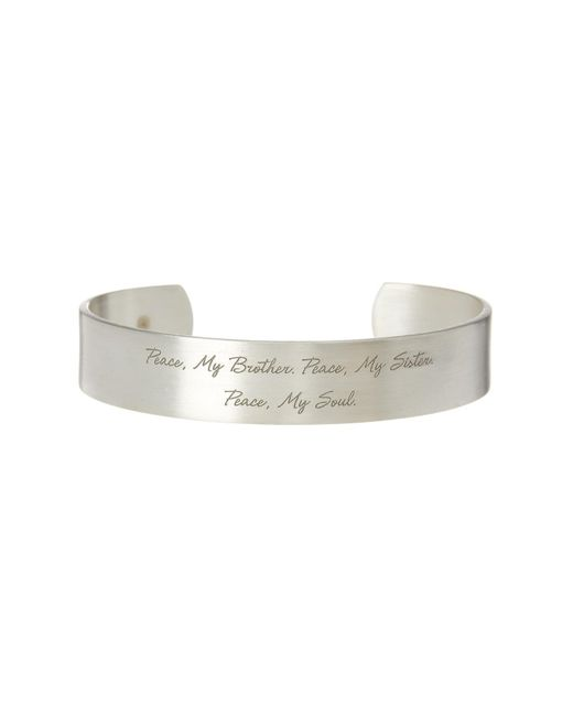 Dogeared - Metallic Maya Angelou Peace My Brother Cuff Bracelet - Lyst