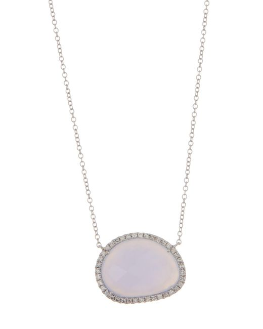 Meira T - Metallic 14k White Gold Diamond Pave Chalcedony Necklace - 0.20 Ctw - Lyst