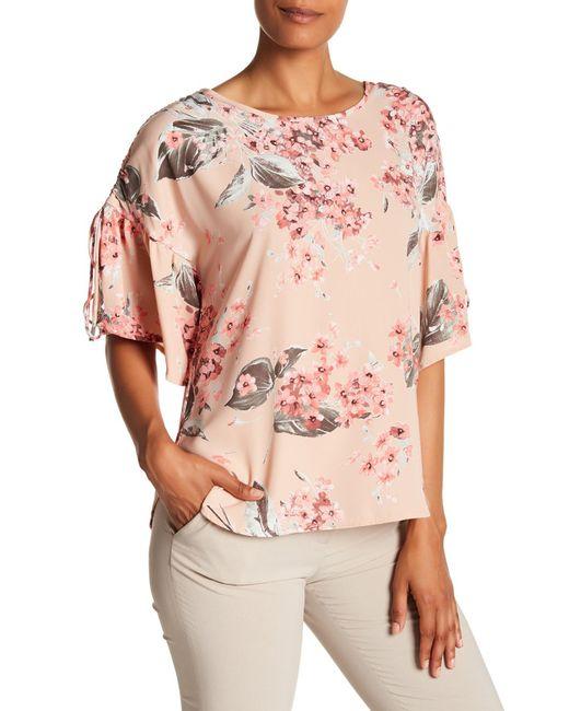 Pleione - Pink Floral Drawstring Shoulder Blouse - Lyst
