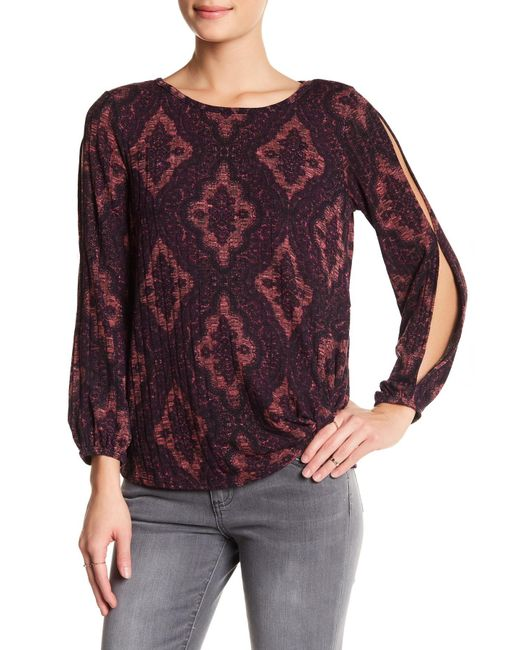 Democracy - Purple Ribbed Cold-shoulder Blouse - Lyst