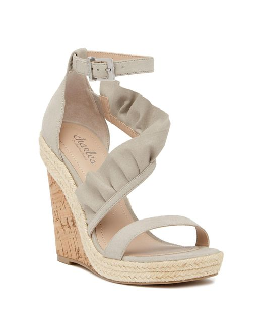Charles David | Gray Brooke Ruffled Espadrille Wedge Sandal | Lyst