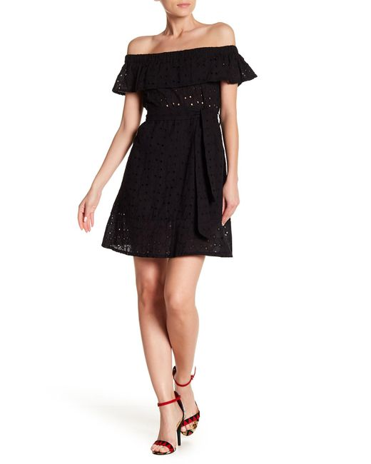 Haute Rogue - Black Off-the-shoulder Eyelet Dress - Lyst