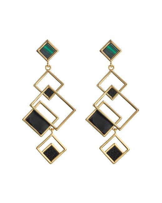 Trina Turk - Metallic Geometric Leather & Malachite Drop Earrings - Lyst