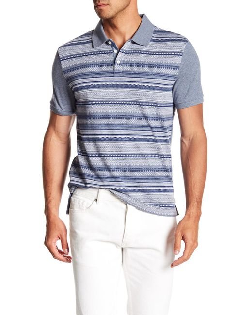 Original Penguin - Blue Short Sleeve Fair Isle Front Polo for Men - Lyst