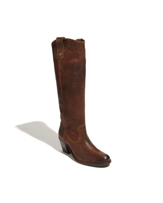 Frye | Brown Jackie Button Leather Riding Boot | Lyst