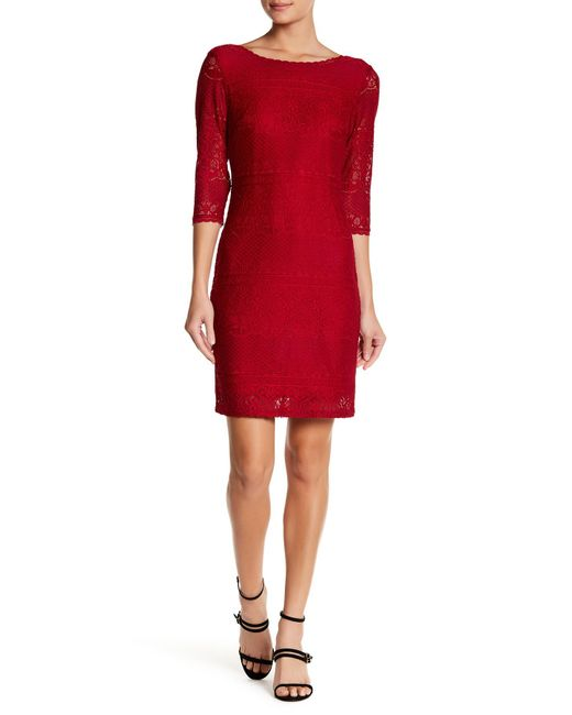 Laundry by Shelli Segal | Red V-back Lace Dress | Lyst