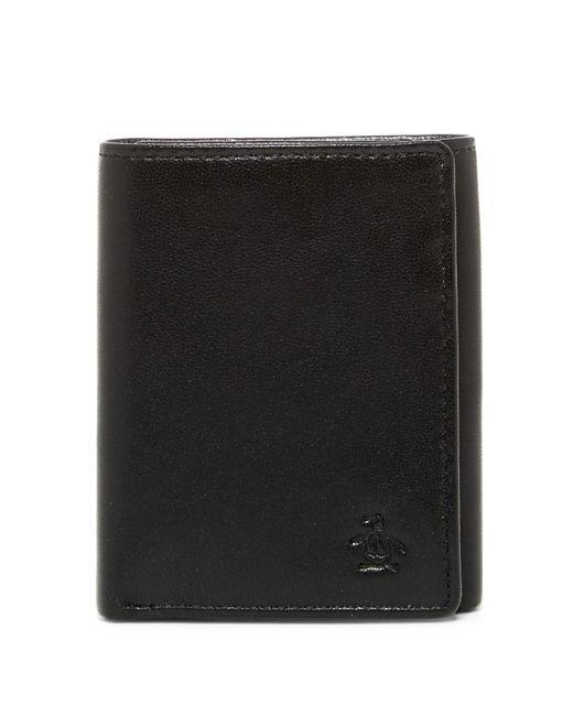 Original Penguin | Black Gramercy Slim Tri-fold Wallet for Men | Lyst