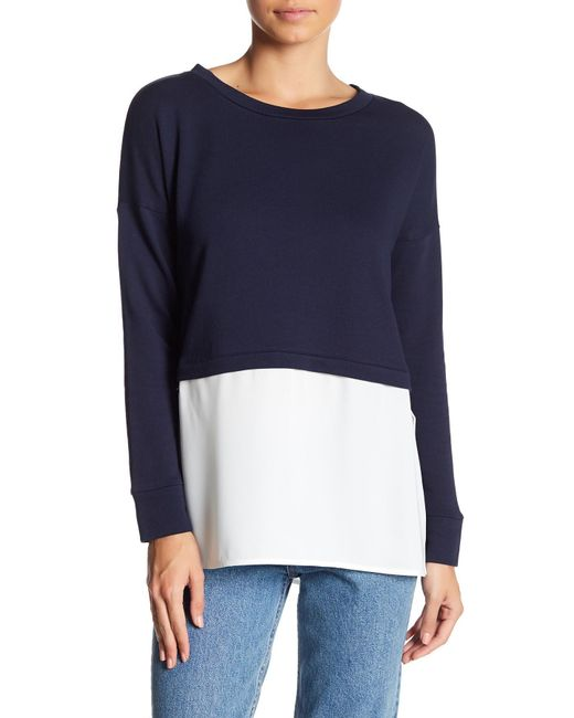 French Connection | Blue Lerato Mixed Media Sweater | Lyst