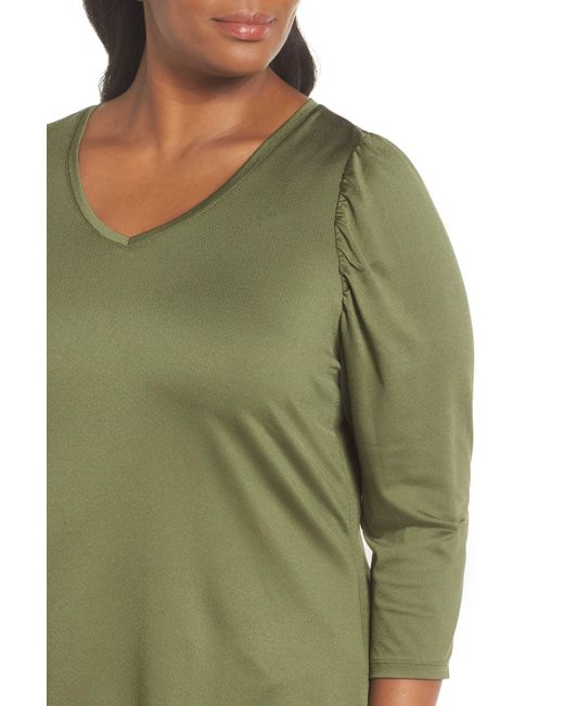670b85237ade1 ... Sejour - Green V-neck Puff Shoulder Top (plus Size) - Lyst ...