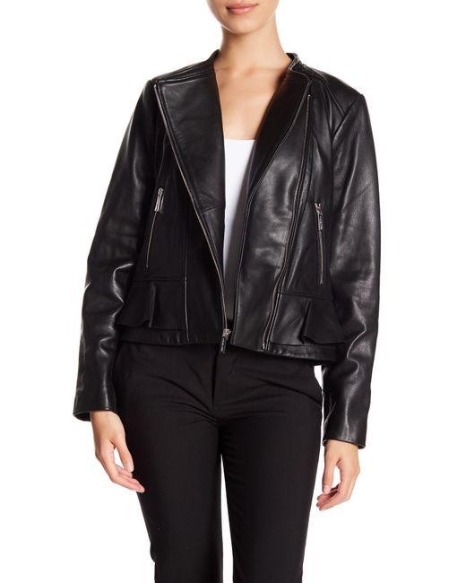 MICHAEL Michael Kors - Black Ruffle Hem Leather Moto Jacket - Lyst