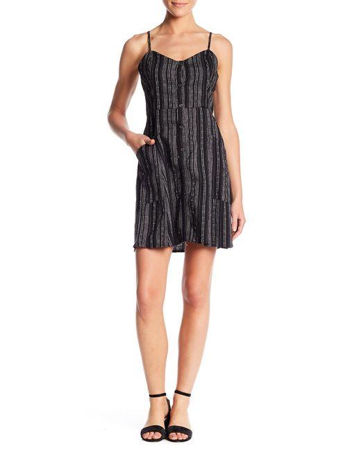 Lush - Black Linen Blend Stripe Button Down Dress - Lyst
