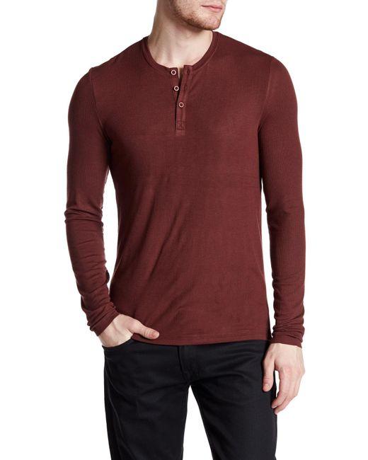 ATM   Red Long Sleeve Rib Henley Shirt for Men   Lyst