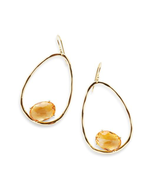 Ippolita - Metallic Rock Candy Hammered 18k Yellow Gold Suspended Stone Oval Drop Earrings - Lyst
