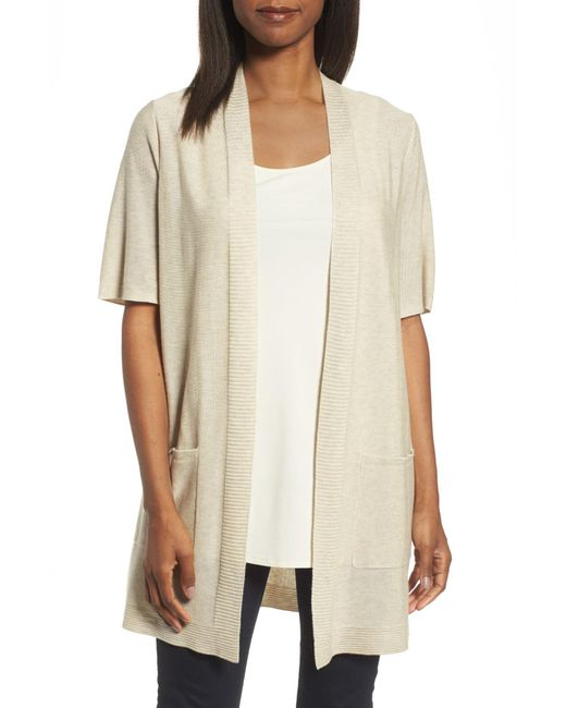 Eileen Fisher - Natural Simple Tencel & Merino Wool Cardigan - Lyst