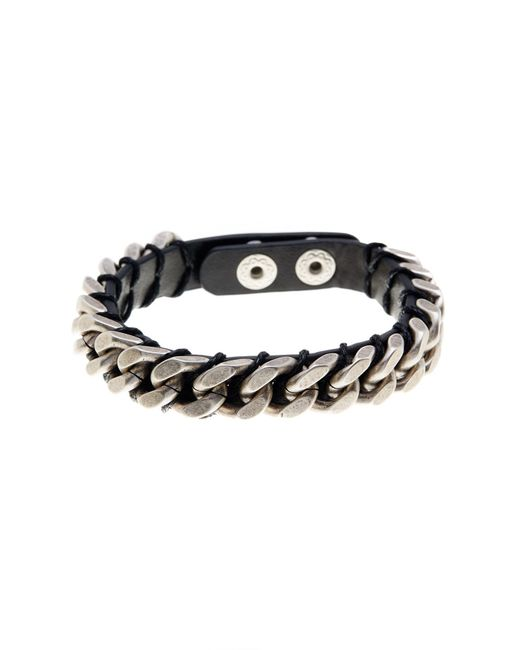 Steve Madden - Black Chain Detail Leather Bracelet for Men - Lyst