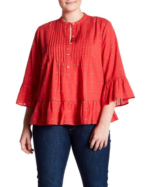Lucky Brand | Red Pintucked Peplum Blouse | Lyst