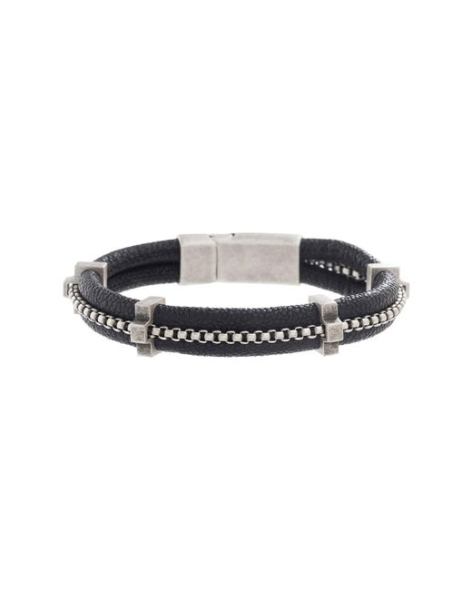 Steve Madden - Double Strand Leather Box Chain Bracelet (black) Bracelet for Men - Lyst