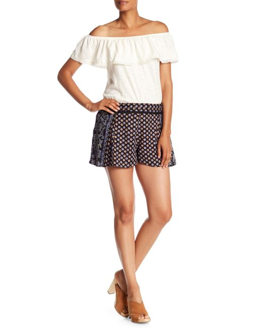 Angie - Black Printed Lace Wasit Detail Shorts - Lyst