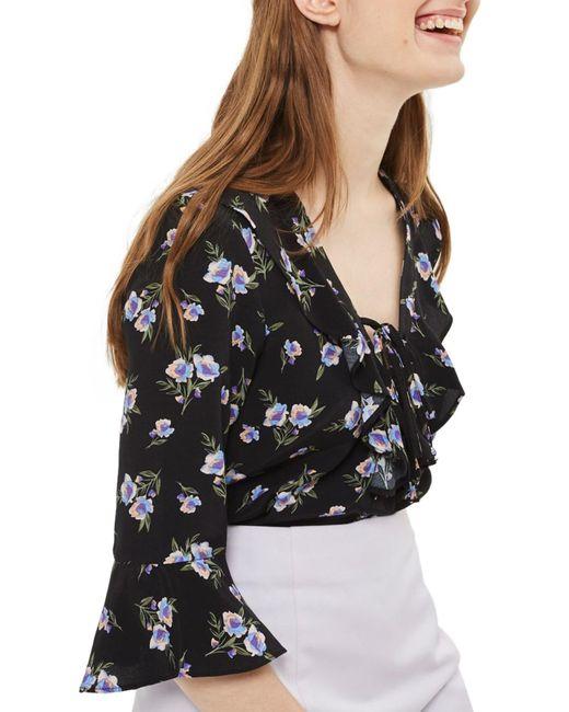 TOPSHOP - Black Floral Lattice Ruffle Blouse - Lyst