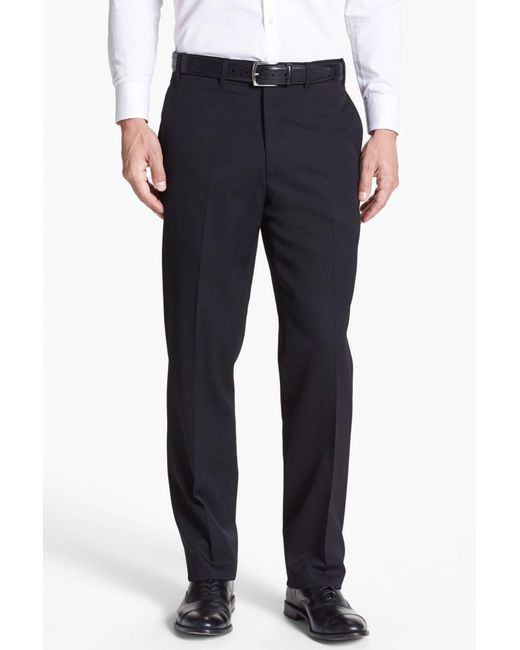JB Britches - Black Flat Front Worsted Wool Trousers for Men - Lyst