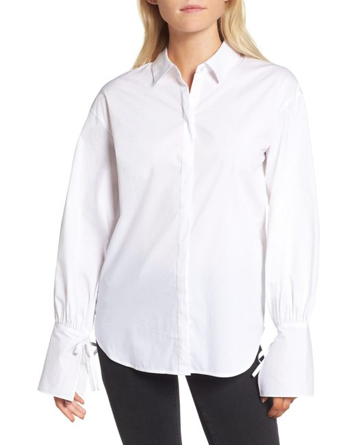 Trouvé - White Tie Sleeve Poplin Shirt - Lyst