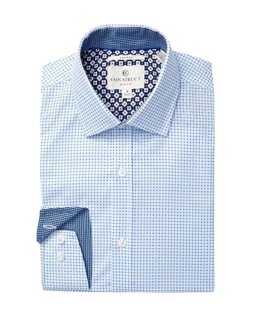 Con.struct | Blue Small Windowpane Slim Fit Dress Shirt for Men | Lyst