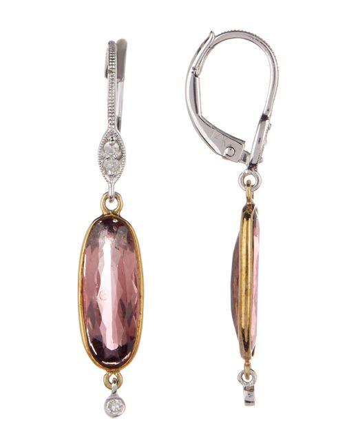 Meira T - Metallic 14k Gold Pink Tourmaline & Diamond Drop Earrings - 0.07 Ctw - Lyst