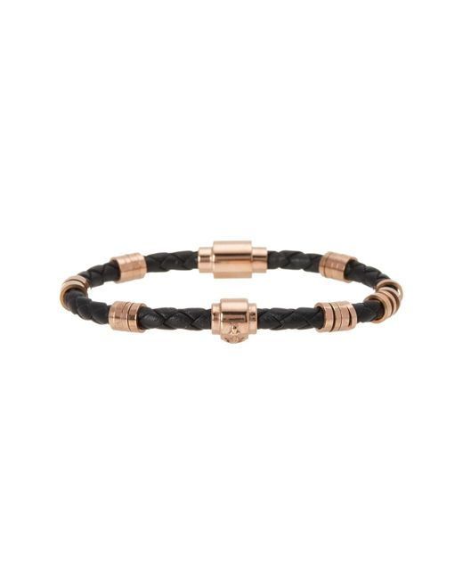 Steve Madden | Black Rondelle Braid Leather Bracelet | Lyst