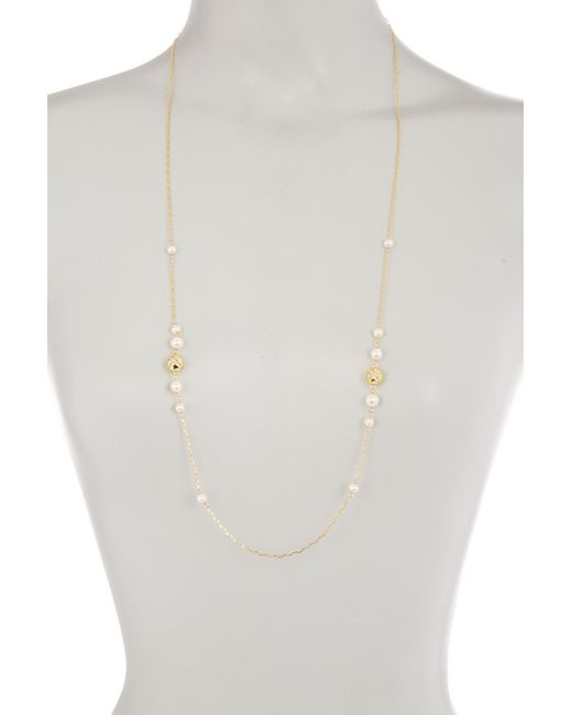 Cole Haan - Metallic 12k Gold Plated Pave Crystal Bead & Freshwater Pearl Station Necklace - Lyst
