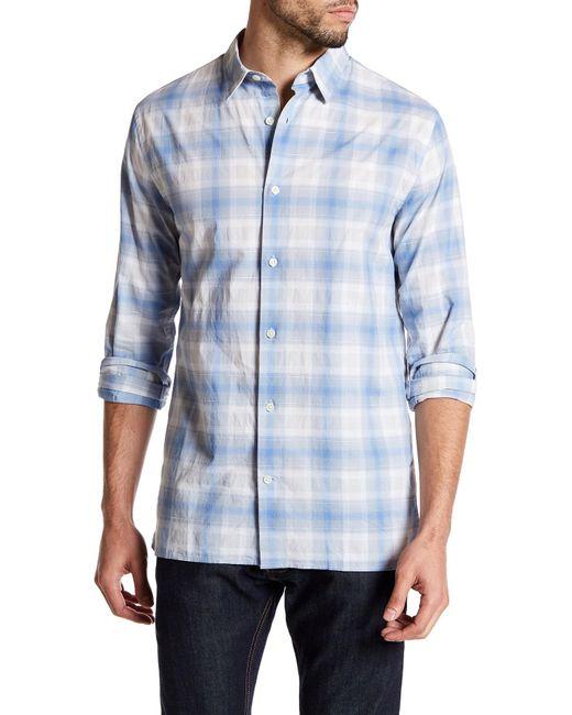 Vince | Blue Melrose Trim Fit Plaid Sport Shirt for Men | Lyst