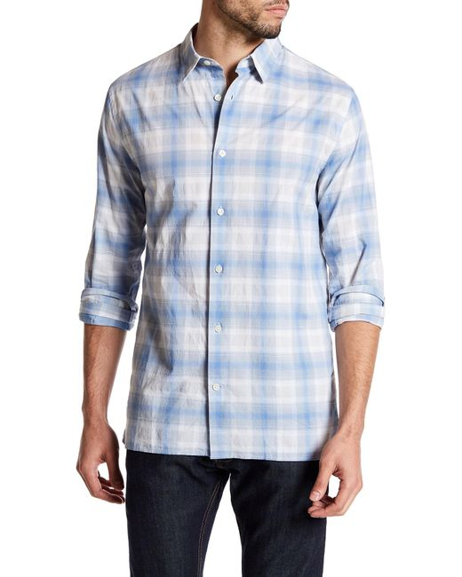 Vince - Blue Melrose Trim Fit Plaid Sport Shirt for Men - Lyst
