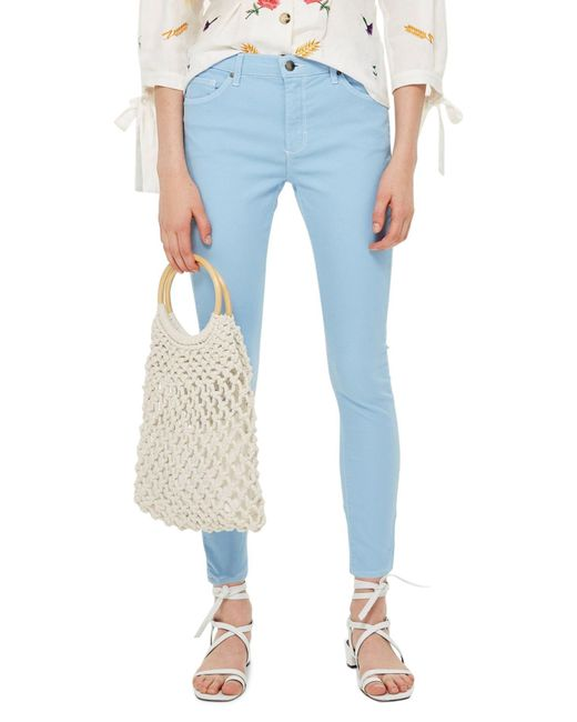 TOPSHOP - Blue Moto Leigh Mid Rise Jeans - Lyst