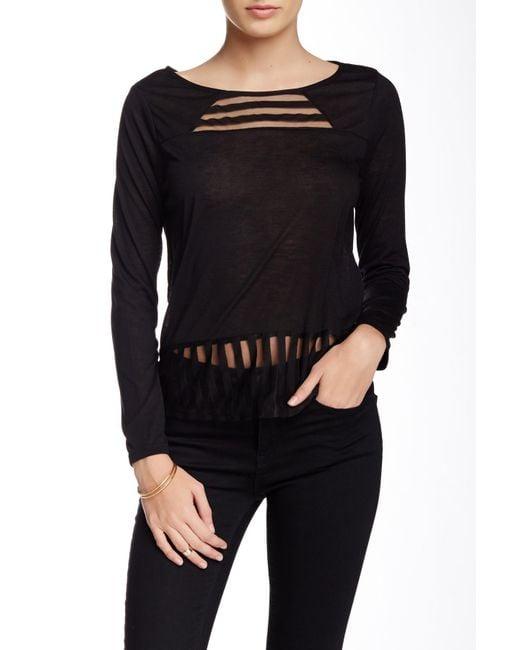 Olive & Oak   Black Shadow Stripe Knit Blouse   Lyst