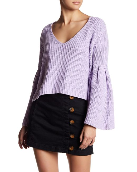Free People | Purple Damsel Cable Knit Pullover | Lyst
