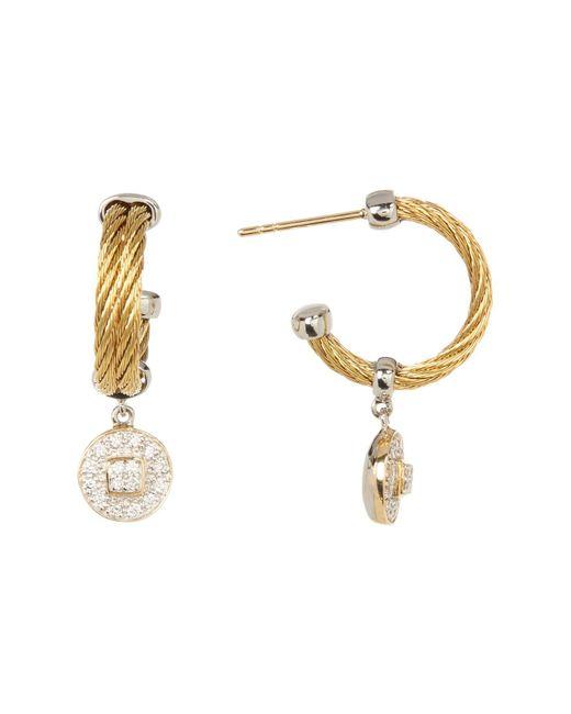 Alor | 18k Yellow Gold Diamond Disc Drop 30mm Hoop Earrings - 0.27 Ctw | Lyst