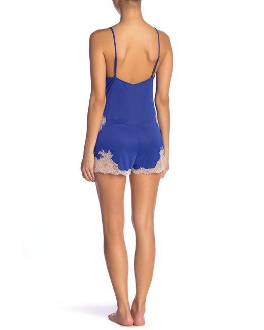 dddbea76054 ... Natori - Blue Enchanted Lace Romper - Lyst