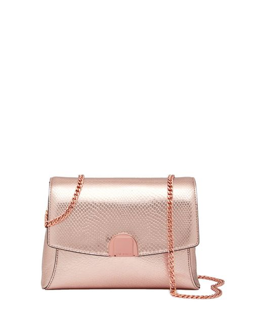 Ted Baker - Multicolor Safron Flip Clasp Exotic Snake Embossed Leather Crossbody Bag - Lyst