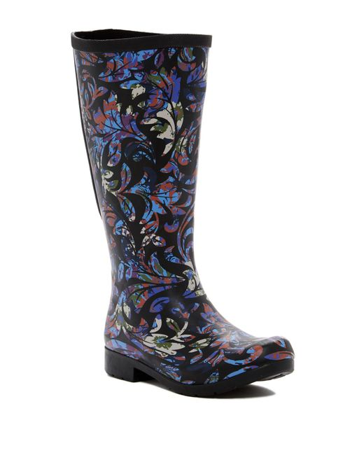 Chooka - Blue Flex Fit Elastic Brocade Tall Waterproof Rainboot - Wide Calf Fit - Lyst