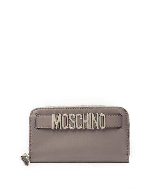 Moschino - Gray Leather Zip Around Wallet - Lyst