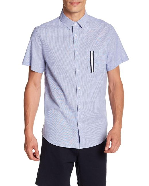 Sovereign Code - Blue Kidd Zigzag Stripe Short Sleeve Regular Fit Shirt for Men - Lyst