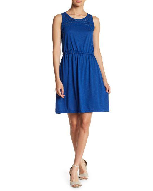Joe Fresh - Blue Crochet Yoke Dress - Lyst