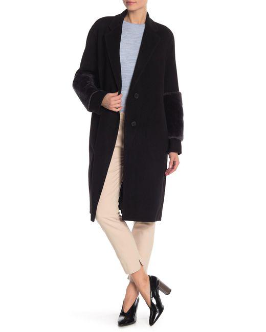 Vince - Black Genuine Lamb Fur Trimmed Long Coat - Lyst