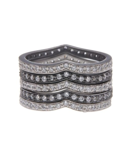 Freida Rothman - Metallic Rhodium Plated Sterling Silver Cz Contemporary Deco Stack Rings - Set Of 5 - Lyst