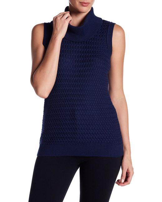 St. John | Blue Cowl Neck Surrey Knit Wool Sleeveless Pullover | Lyst