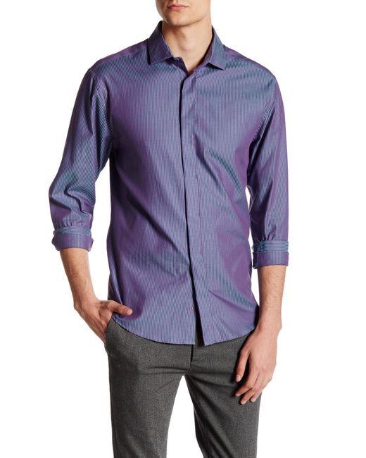Vince Camuto | Blue Contemporary Fit Stripe Sport Shirt for Men | Lyst
