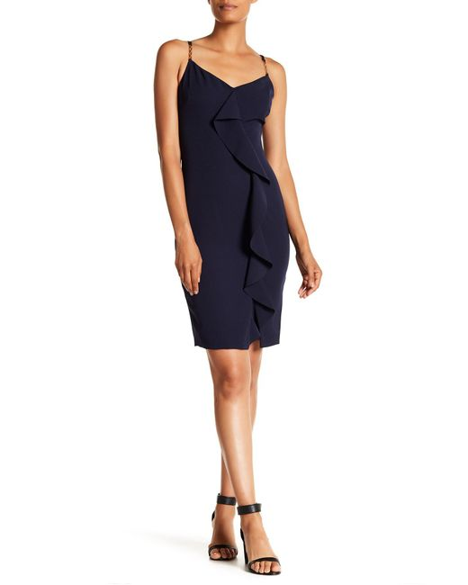 Guess - Blue V-neck Chain Accent Solid Dress - Lyst